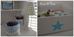 DIY Untensilio, IKEA Box aufgehübscht, Lampe aus dem Brockenhaus neu bezogen, Sterne Zauber ★ Sterne