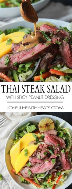 Thai Steak Salad with Spicy Peanut Dressing paleo dinner steak
