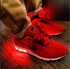 All Red Light Up Nike Air Max LTD