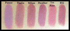 NYX Round Lipsticks Swatches - MAUVEY: Power, Thalia, Milan, Heather, Tea Rose, B52. - PINKY: Rosebud, Paris, Fig, Spellbound, Sunflower, Rapture. NUDEY: Circe, Celene, Galaxy, Summer Love, Iced Honey, Pumpkin Pie. | Sharalee's Box of Chocolates #lip #makeup #lipstick