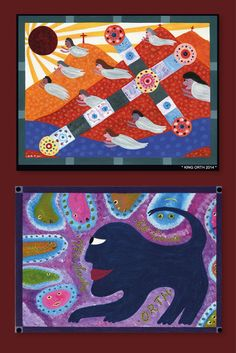 two paintings by King Orth Outsider Art, Art Brut, The Outsiders, Kids Rugs, Paintings, Artists, Decor, Kunst, Pictures