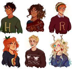Christmas sweaters :) http://alexcopeman.tumblr.com/  Harry, Hermione, Ron, Ginny, Neville, Luna
