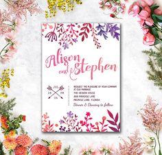 Digital  Printable Files  Colorful Flowers by WeddingSundaeShop #weddingsundae  #wedding #invitation #printable #flowers #leaves #purple #pink #etsy #weddingcard #weddinginvitation #card #watercolor #colorful