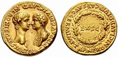 Aureus of Nero and his mother, Agrippina, circa 54 A.D.