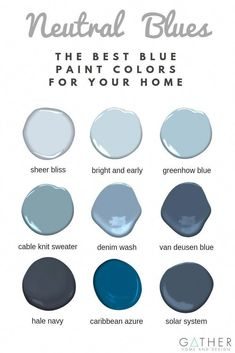 What are the best blue paint colors for your living room kitchen bedroom or bathroom Check out our top picks of Benjamin Moore paint colors to use in your home Interior Design Paint Ideas Paint color for Living Room Bathroom Paint Colors Paint Best Blue Paint Colors, Modern Paint Colors, Paint Colors For Home, House Colors, Paint Colours, Paint Colors For Bedrooms, Blue Grey Paint Color, Interior Paint Colors For Living Room, Farmhouse Paint Colors