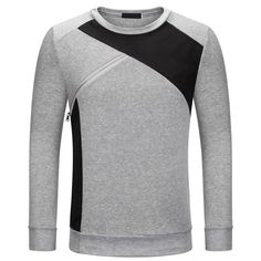 New Autumn Winter Fashion Men Hoodies Gray Patchwork o-Neck Long Sleeve Casual Thicken Tops Male Pullover Tracksuit Sweatshirt #Affiliate