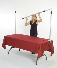 EZFrame No Tools Required - They use it for hanging banners above your table - could also hang other things. $149, might not be a bad investment. Consider.