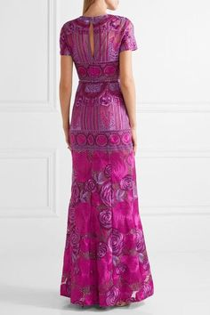 Marchesa Notte - Embellished Tulle Gown - Magenta - US14