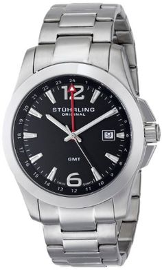 Men's Wrist Watches - Stuhrling Original Mens 53202 Leisure Esprit GMT Analog Display Swiss Quartz Silver Watch -- You can find more details by visiting the image link. (This is an Amazon affiliate link)