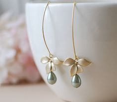 Gold Orchid Flower Sage Green Pearls Earrings. Sage Green Teardrop Pear Shaped Pearls Matte Gold Orchid Long Dangle Earrings