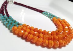 Facets, Facets, Facets! Apricot, Ocean, and Plum Faceted Bead Triple Strand Necklace by BeaOtch