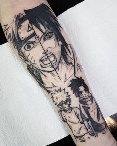 Sasuke y naruto, uma linda tatoo ! 42 Tattoo, Manga Tattoo, Anime Tattoos, Fake Tattoos, Body Art Tattoos, Sleeve Tattoos, Tattoos For Guys, Tatoos, Taboo Tattoo