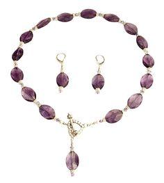 Amethyst Violet Gemstone Beaded Necklace Set                                                                                                                                                                                 More