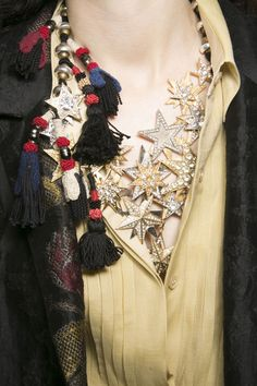 Dries Van Noten Spring 2014   Stars Layering Embellished Diamonds Gold and silver Multiple forms