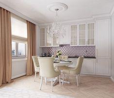 Egyszobás 35m2-es lakás kényelmes és funkcionális berendezése - pasztell színek, tágas konyha és étkező, franciaágy, kandalló a nappaliban