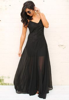 Sheer Embroidered Strappy Maxi Dress in Black