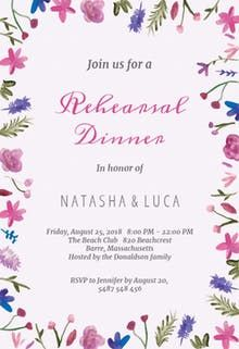 Watercolor Flowers - Rehearsal Dinner Party Invitation Template