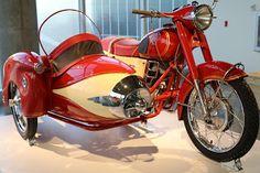 1951 Pannonia with sidecar on display at the Barber Vintage Motorsports Museum -- Birmingham, Al. Vintage Motorcycles, Cars And Motorcycles, Red Motorcycle, Sidecar Motorcycle, Ride 2, Daihatsu, Street Bikes, Dirt Bikes, Motorbikes