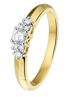 Geelgouden ring met diamant - Lucardi.nl