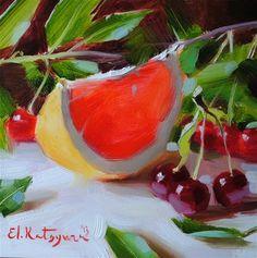 """Grapefruit and Wild Cherries"" - Original Fine Art for Sale - © Elena Katsyura"