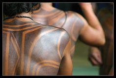 Brazil. Pataxó body painting close up. © Fernando Porto.