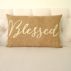 Burlap Blessed Pillow FREE SHIPPING by KatieScarlettCo on Etsy, $26.50