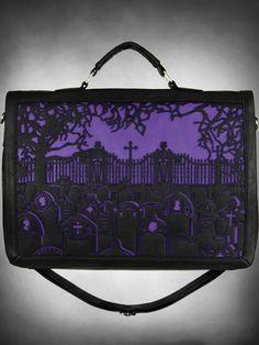 Cemetery Purple Satchel http://www.tragicbeautiful.com
