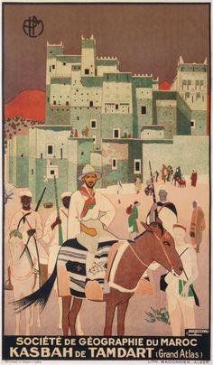 kasbah de tamdart grand atlas société de géographie du maroc plm : 1928 affiches anciennes de MAJORELLE Jacques