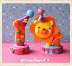 *POLYMER CLAY ~ lion and number toppers by Jelly Lane Designs, via Flickr