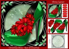 Christmas Shoe With Holly Frame Red Poinsettias on Craftsuprint designed by Anne Lever - This lovely mini kit makes a large square topper (approx 8x8) with decoupage, a greeting and a matching insert. It features a fabulous green christmas shoe embellished with beautiful red poinsettia flowers. It has six greetings and a blank greetings tile. The greetings are fabulous!, merry christmas, seasons greetings, daughter, sister, christmas diva! - Now available for download!