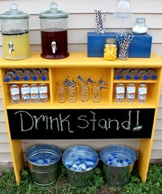 An old twin bookcase headboard repurposed into a bar drink stand for outdoor party picnic reception.  Chalk board paint for sign. Upcycle, Recycle, Salvage, diy, thrift, flea, repurpose!  For vintage ideas and goods shop at Estate ReSale & ReDesign, Bonita Springs, FL