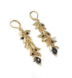 Leaf Chain Earrings Swarovski Jet Black Crystals Gold Classic Elegant Dressy