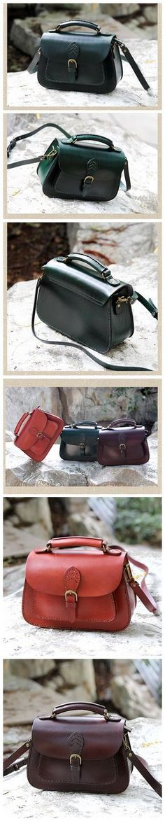 LISABAG--Handcrafted Leather Messenger Handbag Leather Shoulder Bag Small Satchel in Green AK04
