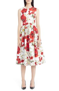 Dolce&Gabbana Dolce&Gabbana Poppy & Daisy Print Cotton & Silk Dress available at #Nordstrom