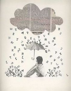 It would be neat to use newspaper background and words cut out after printing. Newspaper Crafts, Book Crafts, Newspaper Collage, Journal D'art, Ecole Art, Art Portfolio, Art Plastique, Medium Art, Art School