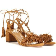 Aquazzura Wild Thing 50 Suede Sandals (40.450 RUB) ❤ liked on Polyvore featuring shoes, sandals, brown, suede leather shoes, brown shoes, brown suede shoes, aquazzura and suede shoes