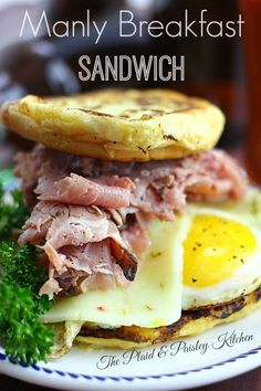 Manly Breakfast Sandwich ~ A towering beast of total man food to get his day going right.  And Ladies we often have big appetite in the morning.  This is an Equal Opportunity Sandwich