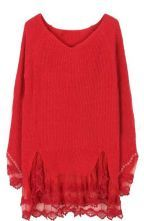 Red Long Sleeve Contrast Lace Pullovers Sweater $45.2