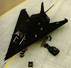 F-117A Nighthawk.  Pure stealth. Saw one of these during an air show at Sheppard Air Force Base in Wichita Falls, Texas ~ it had a fence around it and two armed guards.