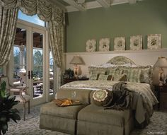 High-end Interior Design Firm, Decorators Unlimited, Palm Beach, Caribbean Bedroom Green, Home Bedroom, Bedroom Decor, Master Bedrooms, Master Suite, Classic Home Decor, Classic Interior, Traditional Interior, Traditional Bedroom