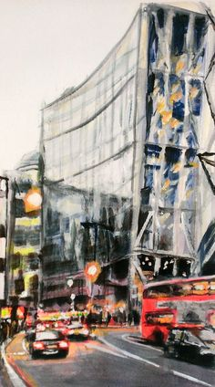 Original acrylic on watercolour paper painting of Bishopsgate, approaching the City Of London. Worked from photographs taken as I was walking from the East End at dusk time.