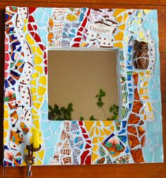 """""""Hootie and the Hook"""" - by Hen House Mosaic Studio.  Pique Assiette Mosaic Mirror.  15"""" X 15"""""""