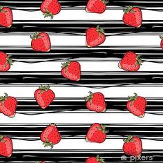 Papel Pintado Estándar Fresa en el patrón sin fisuras de fondo rayado - Comida Strawberry, Cards, Paper Envelopes, Ruled Paper, Wall Papers, Strawberries, Cut Outs, Day Planners, Maps