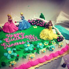 Buttercream Disney princess sheet cake