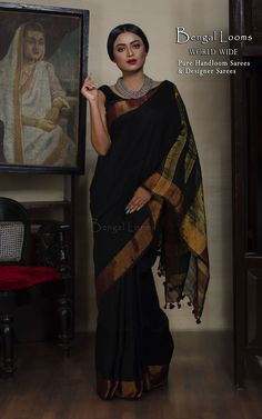 Beautiful Pure Handloom Black and Copper Zari Border Linen Khadi Saree Available for Sale From Bengal Looms