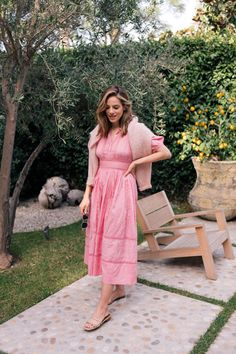Gal Meets Glam A Pink Dress That Feels Made for Me featuring Julia's favorite pink dress paired with a light sweater and neutral sandals. Pink Midi Dress, Eyelet Dress, Pink Dresses, Look Fashion, Girl Fashion, Daily Fashion, Street Fashion, Aesthetic Women, Gal Meets Glam