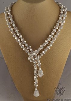 White pearl lariat with bells N1314 by ~Fleur-de-Irk on deviantART