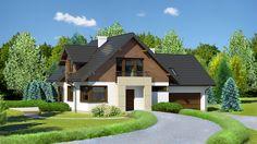 Elewacje zaprojektowane są w takiej samej nowoczesnej stylistyce wykorzystującej elementy wykonane z naturalnych materiałó Modern House Design, Houzz, Home Fashion, Villa, Exterior, Mansions, House Styles, Outdoor Decor, Home Decor