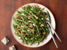 Get Green Beans with Caramelized Onions and Almonds Recipe from Food Network