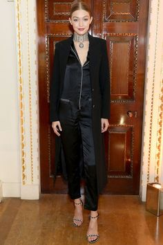 14 November Gigi Hadid hosted a dinner to celebrate the opening of the Stuart Weitzman London store wearing a silky pyjama-inspired ensemble and plenty of jewellery. Celebrity Dresses, Celebrity Style, Stuart Weitzman, Style Gigi Hadid, Pajamas All Day, Burberry, Spring Summer, Models Off Duty, Valentino